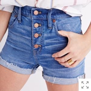 Madewell High Rise Button Front Denim Shorts